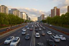 Pekingfinansgata, solnedgång Royaltyfri Fotografi