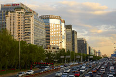 Pekingfinansgata, solnedgång Fotografering för Bildbyråer