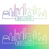 Pekinghorisont Färgrik linjär stil Royaltyfri Bild