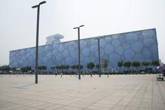 Pekingsommaren 2008 Olympic Stadium, mitten för nationell simning, Arkivfoton