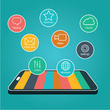 pekskärm för applikationsymbolssmartphone , Smart telefon med Apps Royaltyfri Foto
