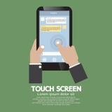 Pekskärm på Smartphone Fotografering för Bildbyråer