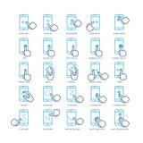 Pekskärmhandgester för smartphonesöversiktssymboler ställde in Arkivbilder