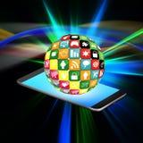 Pekskärmmobiltelefon med färgrika applikationsymboler, cell p Royaltyfria Foton
