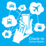 pekskärmSmart telefon, transportlopp Arkivbild