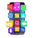 Pekskärmsmartphone med applikationer som symboler Royaltyfri Fotografi