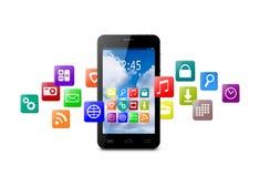 Pekskärmsmartphone med molnet av färgrika applikationsymboler Royaltyfri Fotografi