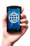 Pekskärmtelefon Fotografering för Bildbyråer