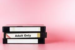 Película adulta etiquetada solamente en la cinta video para la película de la pornografía Fotografía de archivo libre de regalías