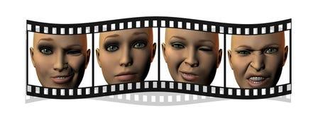 Película com as faces da menina em 3D isoladas no branco ilustração royalty free
