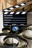 película de 35m m con la tarjeta de chapaleta Fotografía de archivo