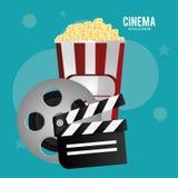Película de la chapaleta de la palomitas de maíz de la película del carrete del cine Imágenes de archivo libres de regalías