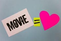 Película de la escritura del texto de la escritura Cine del significado del concepto o vídeo cinematográfico de la película de la Imagen de archivo libre de regalías
