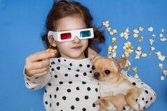 Película de observación de la muchacha y del pequeño perro en los vidrios 3D con palomitas imagen de archivo libre de regalías