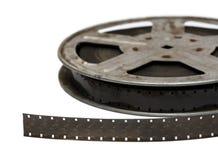 Película de película vieja en el primer del carrete del metal Imagen de archivo libre de regalías