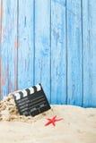 Película en la playa Foto de archivo libre de regalías