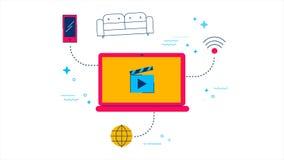 Película que fluye la 2.a animación del concepto en línea