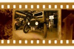 Película vieja de 35m m con el coche americano retro Fotos de archivo libres de regalías