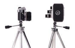 Película y cámaras inmóviles Fotos de archivo libres de regalías