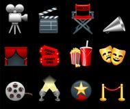 Película y colección del icono de la industria de películas Fotografía de archivo