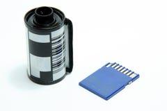 Película y tarjeta del SD fotografía de archivo