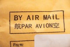 Pela etiqueta do correio aéreo Fotografia de Stock