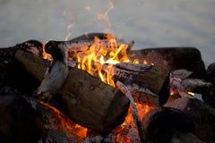 Pela fogueira Imagens de Stock