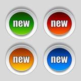 Peladura de nuevas etiquetas engomadas del círculo Imagen de archivo libre de regalías