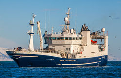 Pelagic fishing Vessel. Icelandic pelagic fishing vessel Borkur NK-122 approaching port in Helguvik, Iceland, fully loaded with Capelin stock photography