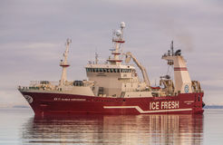 Pelagic fishing Vessel. Icelandic offshore commercial pelagic fishing vessel Vilhelm Thorsteinsson EA-11 approaches port in Helguvik Iceland, 12.03.2013, fully Royalty Free Stock Photos