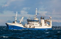 Pelagic fishing Vessel. Image of a commercial pelagic fishing vessel fishing in Icelandic waters royalty free stock photography
