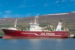 Pelagic freezing Trawler Vilhelm Thorsteinsson in port of Akureyri. Akureyri, Iceland - June 5. 2018: Pelagic freezing Trawler Vilhelm Thorsteinsson in port of royalty free stock photos