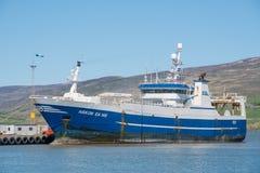 Pelagic trawler Hakon EA 148 in port of Akureyri. Akureyri, Iceland - June 5. 2018: Pelagic trawler Hakon EA 148 in port of Akureyri stock photography