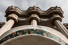 Pelare i Retro, Barcelona, lejonhuvud royaltyfri foto