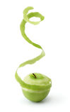 Pelatura della mela verde fotografia stock libera da diritti
