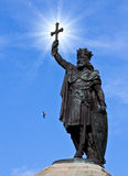 Pelayo king. Statue of king Pelayo in Gijon, Asturias stock photography
