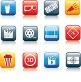 Película y conjunto del icono del cine Imagen de archivo