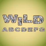 Pele da zebra da imitação do alfabeto Imagens de Stock
