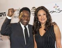 Pele e moglie Marcia Aoki Fotografia Stock