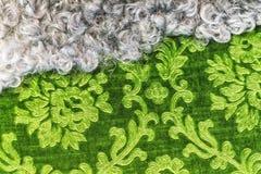 Pele e texturas verdes de matéria têxtil que alinham junto foto de stock royalty free
