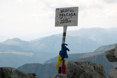Peleaga peak sign Stock Images