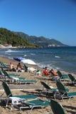 Pelekas Beach, Corfu stock images