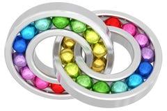 Pelengi z kolorowymi piłkami Zdjęcie Royalty Free