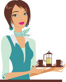 pelengu dziewczyny teapot Zdjęcie Royalty Free
