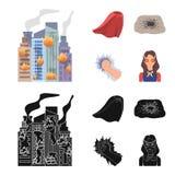 Peleryna, czerwień, ubrania i inna sieci ikona w mieszkanie stylu, Super, siła, dziewczyna, ikony w ustalonej kolekci ilustracji