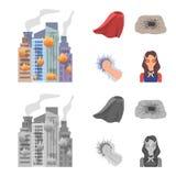 Peleryna, czerwień, ubrania i inna sieci ikona w mieszkanie stylu, Super, siła, dziewczyna, ikony w ustalonej kolekci ilustracja wektor