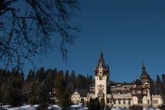 Peles城堡剧烈的照片在冬天季节的 罗马尼亚,锡纳亚 库存照片