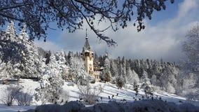 Peles城堡-冬天-标志 库存照片