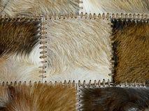 Peles animais costuradas, fundo decorativo Imagens de Stock Royalty Free