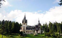 Peles Castle. Front view of the biggest Romanian castles Stock Photo